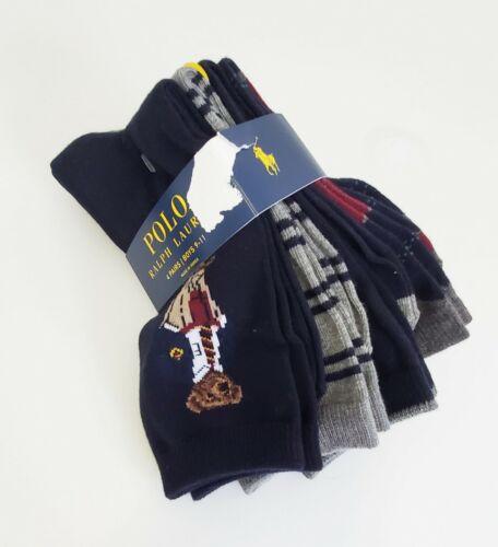 Polo Ralph Lauren Boys Preppy Bear Crew Socks 4 Pack Multi Sz 9-11 - New