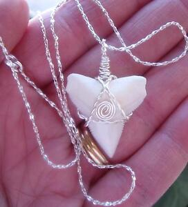Silver Awesome Upper Modern Bull Shark Tooth Necklace surfer 18