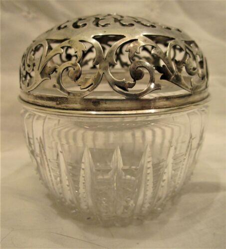 Gorham String / Thread Holder Sterling Silver & Lead Cut Crystal Pierced Top