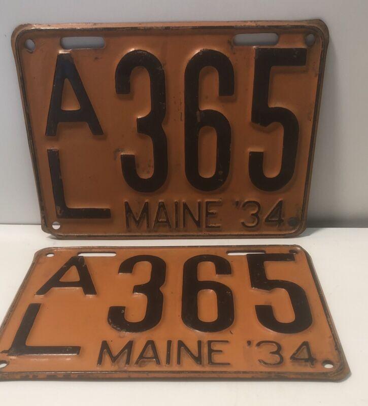 1934 Vintage Maine License Plate Pair