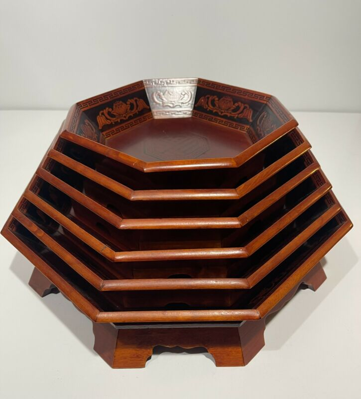 Asian Wooden Trays 6 Nesting Stacking Serving Bowls Octagonal Wood Lacquer Vtg