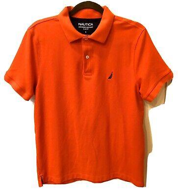 NWOT Men's NAUTICA Short Sleeve Polo Shirt Size L Bright Orange Slim Fit Nice!