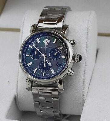 NEW AUTHENTIC VERSACE SILVER DAY GLAM MOP CHRONOGRAPH WOMEN'S VLB080014 WATCH