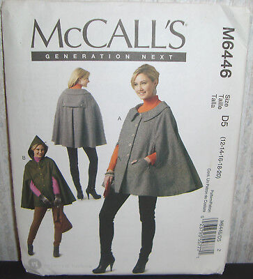 Womens/Misses Capes Coats Jacket Sewing Pattern/McCall's M6446/SZ 12-20/UCN, used for sale  Shipping to India
