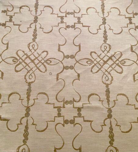 6.5YD  NINA CAMPBELL 'Portavo' Natural Hand Print 100% Linen Fabric $1170 Retail