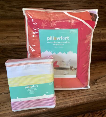 Pillowfort TODDLER Girl Bed Sheets Comforter Set Coral Pink
