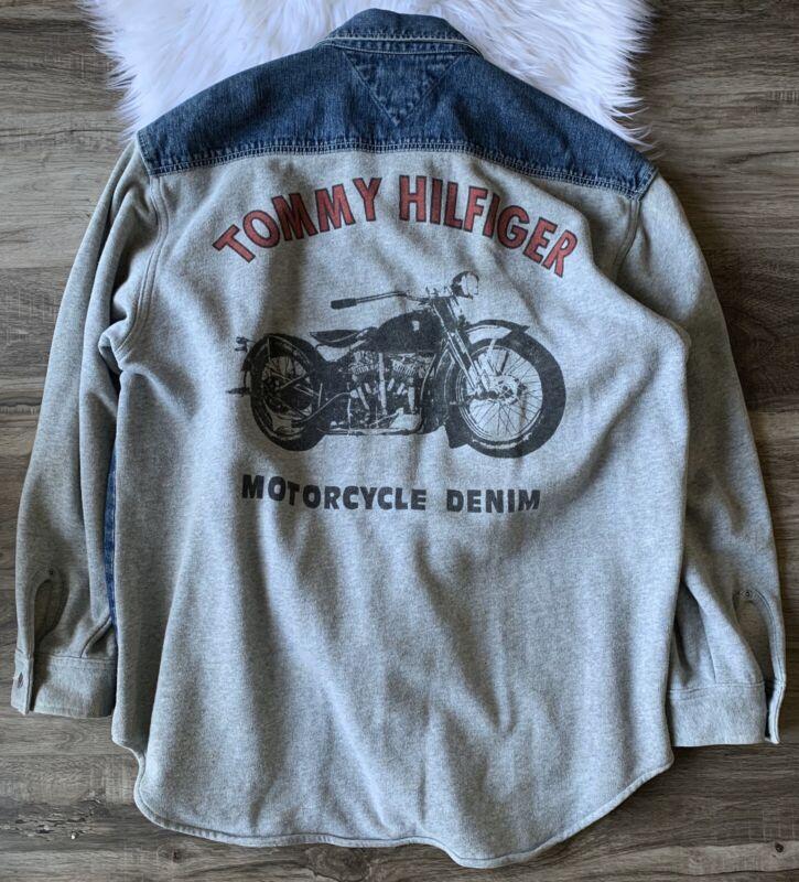 Vintage Tommy Hilfiger Motorcycle Denim Sweatshirt Jacket Blue Mens Size L Large