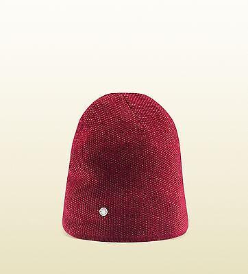 d9310d6eb19c8 GUCCI Beanie Hat Mens Burgundy Beige Wool Cashmere Knit Ski Winter Size  Medium