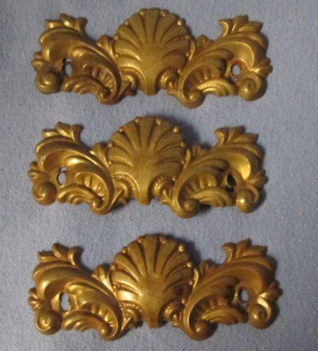 3 vintage brass colored salvage furniture ornament escutcheons  sea shell design