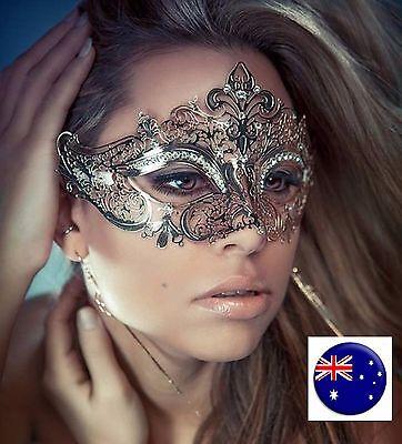 Lady women Metallic Crystal VENETIAN Masquerade Halloween Fancy Face Eye Mask (Crystal Face Halloween)