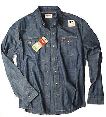Indigo Mens Shirt - New Wrangler Long Sleeve Denim Shirt Dark Indigo Color Trim Fit Men's Sizes