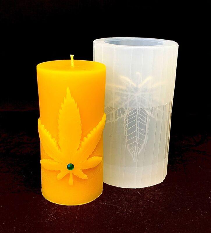 Silicone Pillar candle Mold Marijuanna Pot Leaf Homemade plaster resin