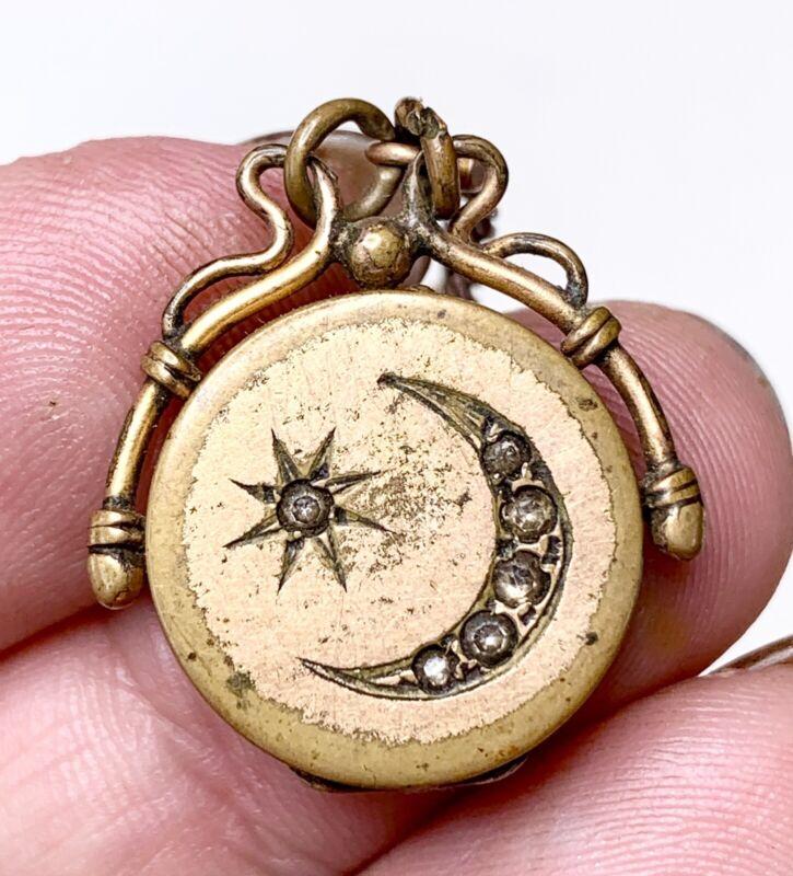 Victorian Crescent Moon Locket, Pendant. Gold Fill Jewelry. Pocket Watch Fob