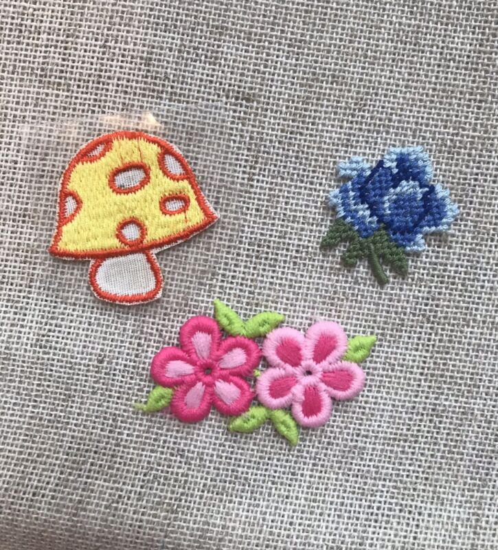 Vintage 1970s Mushroom Flower Cloth Patch Lot New