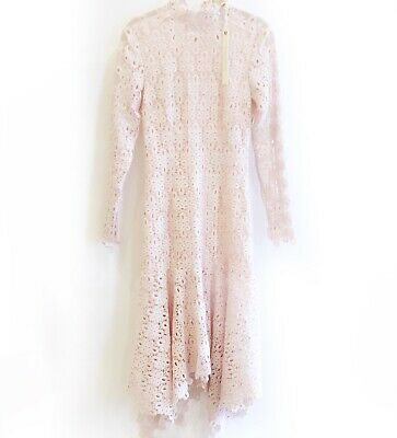Jonathan Simkhai High Neck Lace Asymmetric Hem Light Pink Dress Size 6 New