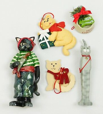 Lot of 5 Cute Whimsical Cat Composite Christmas Ornament Holiday Decoration ()