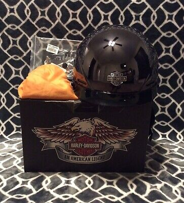Harley Davidson Helmet LARGE Titatnium/Chrome, Half-Black With Original Box