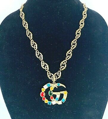 GUCCI Multicolored Crystals Double G Antique Gold Finish Necklace
