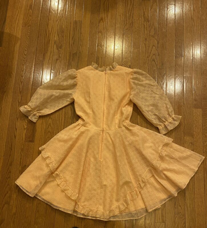 Vtintage Square Dance Dress Co Costume Full Circle  Peach Eyelet Size 12