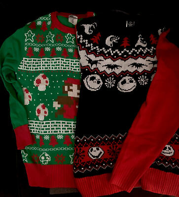 Mario Sweater and Jack Skellington Nightmare Before Christmas Sweater - Small