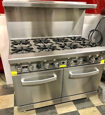 New 8 Burner Range Heavy Duty 48 Commercial Restaurant Stove Gas Double Oven