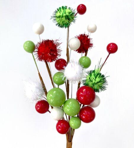 RED & GREEN POM POM CHRISTMAS PICK | Décor Wreath Floral Candy Lollipop Elf