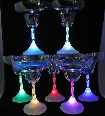 4 pcs Light Up LED FLASHING MARGARITA GLASSES BAR WARE EACH GLASS 10 oz - Led Glassware