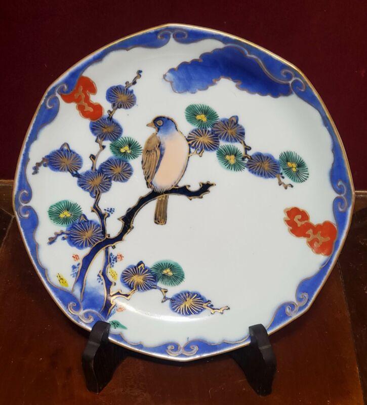 Antique Japanese Edo Era Imari Porcelain Octagonal Plate Bird in Pine
