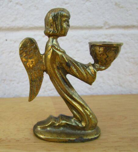 Vtg Brass Kneeling Angel Figurine Candle Holder Handmade Austria, Xmas Religious