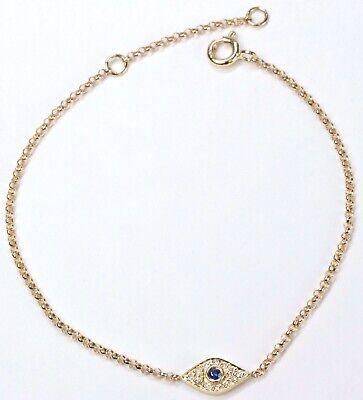 Tiny Evil Eye Bracelet with Diamond in 14k Yellow, White or Rose Gold( D (Diamond Evil Eye Bracelet)