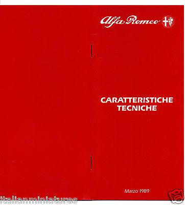 Alfa Romeo Sprint 33 Sportwagon Spider S4 75 164  Specification Brochure 1989