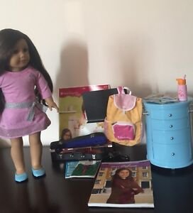 American Girl Doll, Violin, Dresser, Backpack and Books
