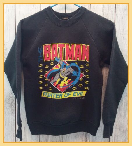 🔴1988 Vintage Original Boys Batman Fighter of Evil Graphic Sweatshirt Size 8/10