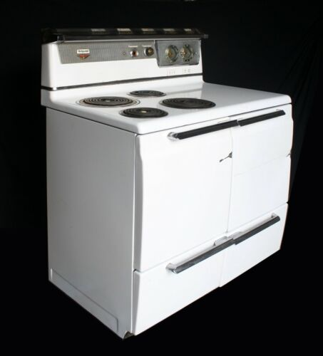 Vintage Antique Old Art Deco Electric Hotpoint Range Stove Oven Porcelain Steel