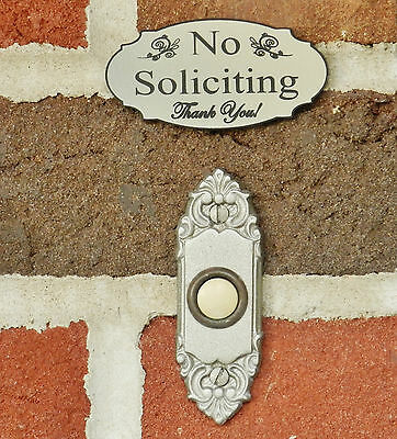 No Soliciting Sign, Small Doorbell Sign, Stainless Steel color - FREE SHIPPING