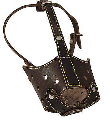 """Real Leather Cage Basket Secure Dog Muzzle 17""""-5"""" snout Grea"""