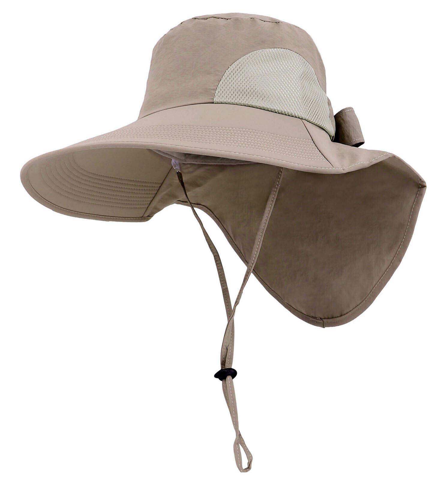 Womens Summer Flap Cover Cap Wide Brim UPF 50+ Sun Shade Hat