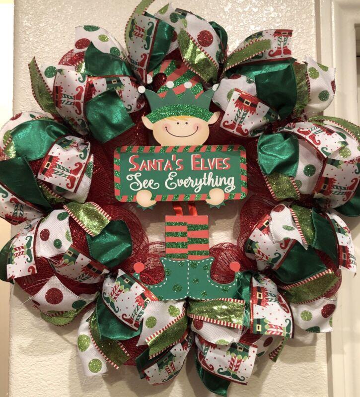 "WHIMSICAL ELF🎄 Deco Mesh CHRISTMAS WREATH ""Santa"