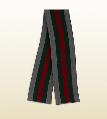 100% AUTHENTIC NEW MEN GUCCI WEB CROOK KNIT STRIPPED SCARF