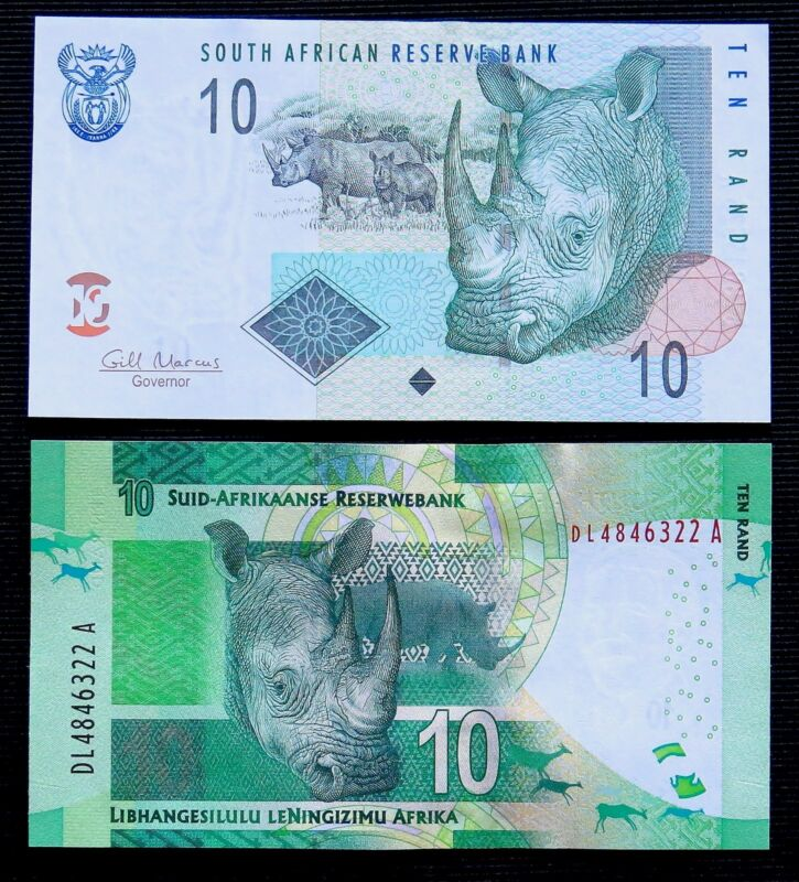 Rhino on money set South Africa 10 Rand banknotes 2009 & 2014 Uncirculated