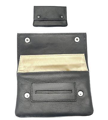 Leather Soft Pda Case - Premium Soft Black Leather Cigarette Rolling Tobacco Pouch Case Organizer