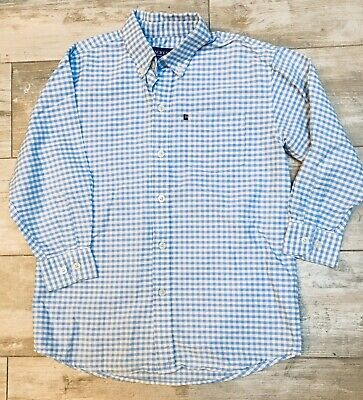 NICE BOYS HACKETT LONDON BLUE/WHITE CHECK BUTTON DOWN SHIRT EASTER L/S 5/6 EUC