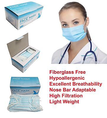 50 Pcs Disposable 3-ply Earloop Anti-dust Face Masks Medical Dental Nail Health