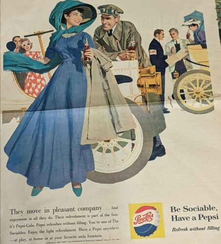 1960 PEPSI FULL PAGE VINTAGE AD THIS WEEK MAGAZINE NEWSPAPER 1960s SOCIABLES🍾