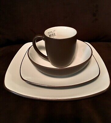Noritake® Colorwave Square 4-Piece Place Setting in CHOCOLATE Brown 4 Piece Place Setting