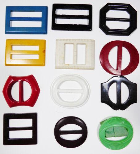 Lot of 12 vintage bakelite plastic belt buckles mix size multi color