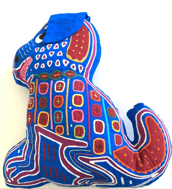 """Mexican Indian Mola Folk Art Intricate Hand-Stitched Dog Pillow Blue 12"""" X 11"""""""
