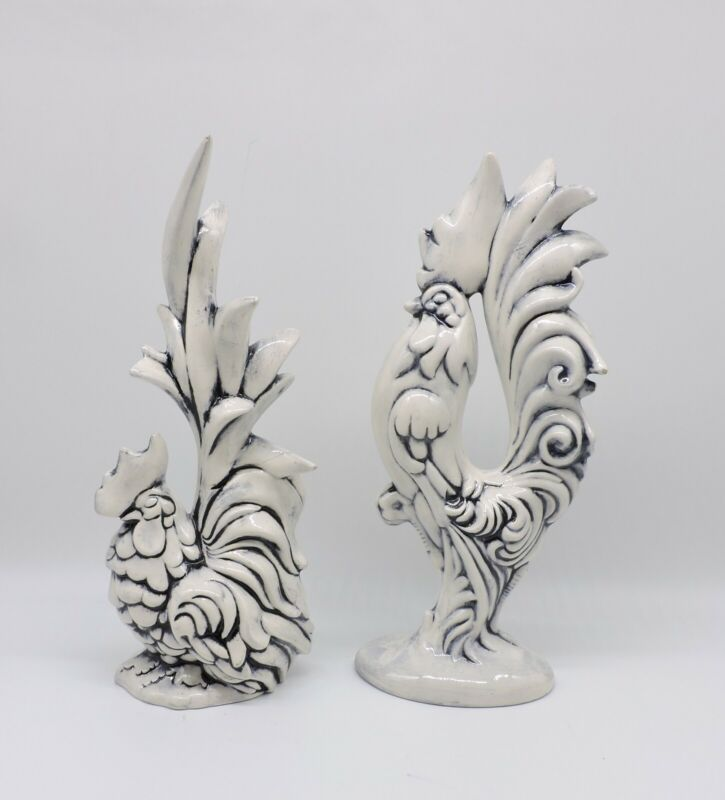 Unique Antique Handmade White and Blue Roosters 1964                         A6