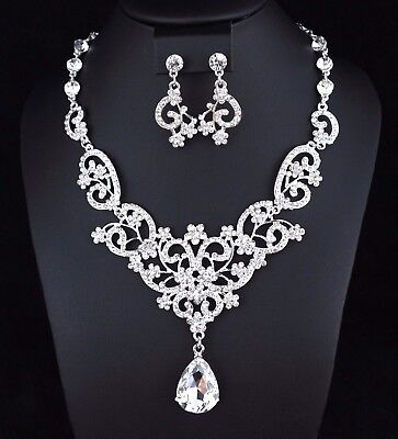 (Floral Drops Clear Austrian Rhinestone Crystal Necklace Earrings Set Prom N24)