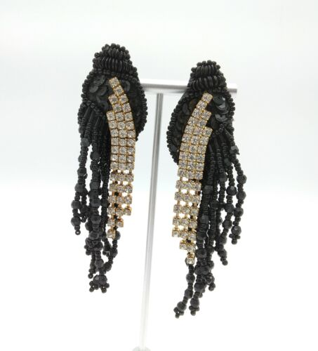Vintage Cascading Statement Rhinestone Black Beaded Sequin Leather Earrings